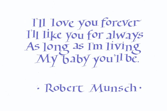 This quote is taken from the wonderful book Love You Forever by children's